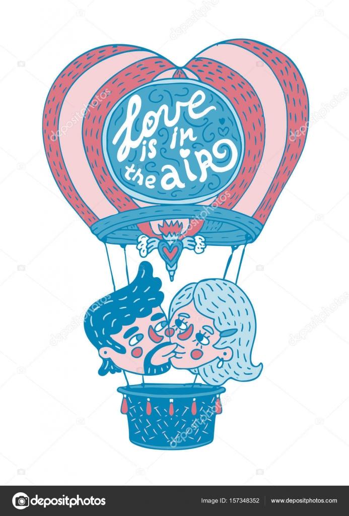 Jovem Casal Beijando Em Um Balão De Quente Com Rotulação Frase O