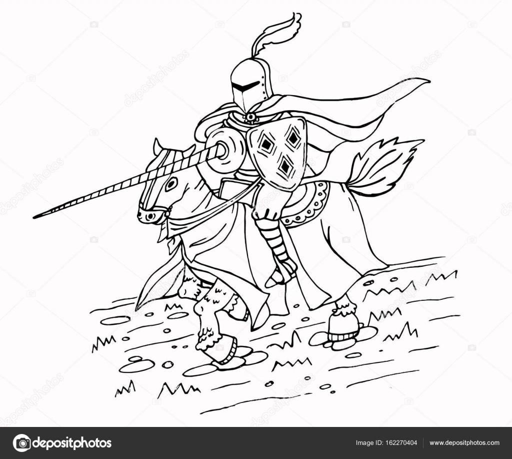 Medieval Caballero de lanza en el caballo — Vector de stock ...