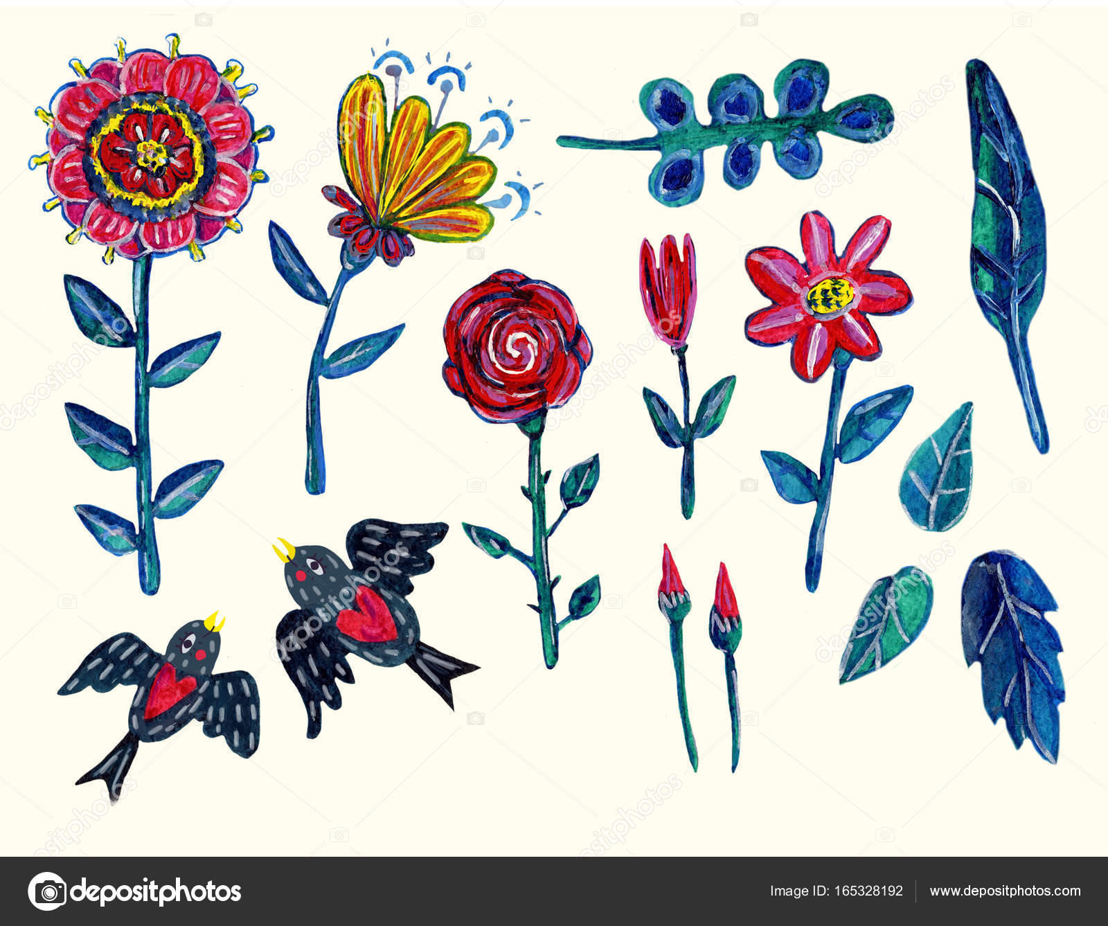 garden clipart with flowers isolated elements acrylic hand drawn illustration with some digital touches can be used for your design project decoration - Garden Clipart