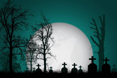 Vector realistic illustration of a haunted cemetery with tombstones, cross and trees without leaves under a dramatic  sky with moon stock vector