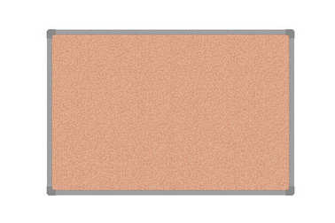 Cork board with plastic frame, isolated on white background