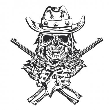 Cowboy skull ath the hat with two guns at the hands.