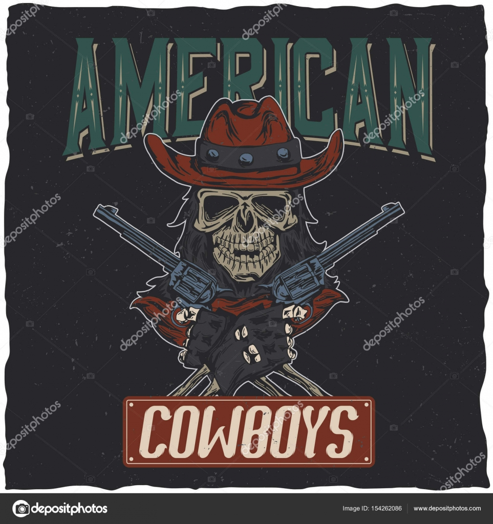 5b16b826ca3 Cowboy t-shirt label design with illustration of skull ath the hat with two  guns at the hands. Hand drawn illustration. — Vector by antonantipov