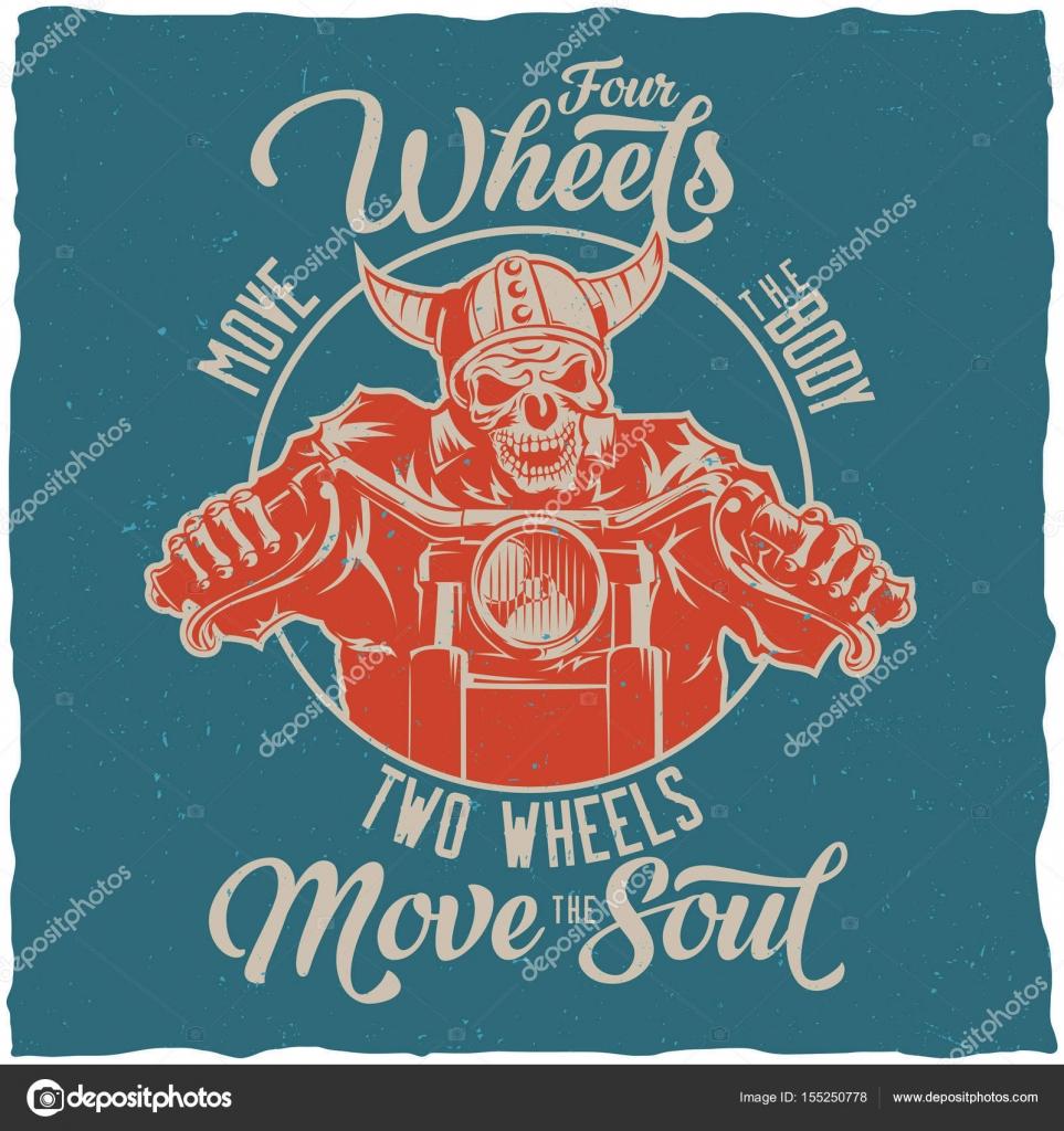 Diseño de la etiqueta de motorista camiseta con ilustración de ...