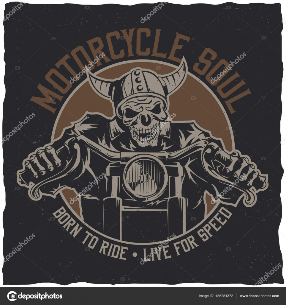 0a1e6f0e Biker t-shirt label design with illustration of skeleton riding on motorbike–  stock illustration