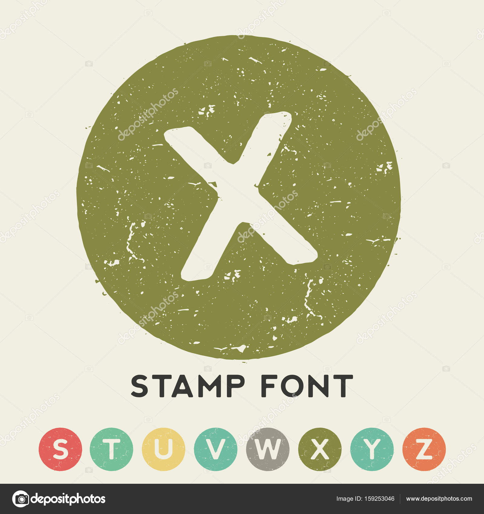 Circular Stamp Font Template With One Big Letter In The Centre Vector Illustration By Antonantipov