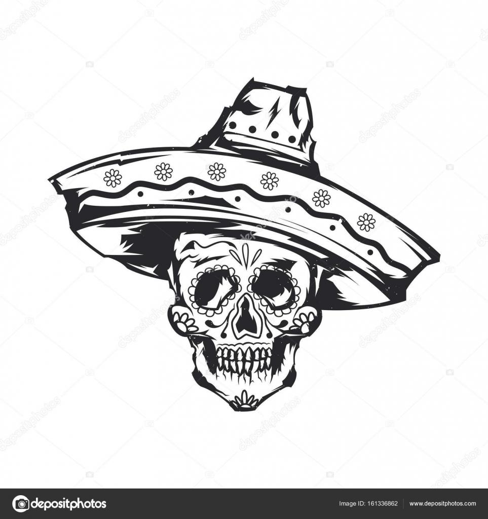 Aislados Ilustración De Calavera Mexicana En Sombrero Archivo