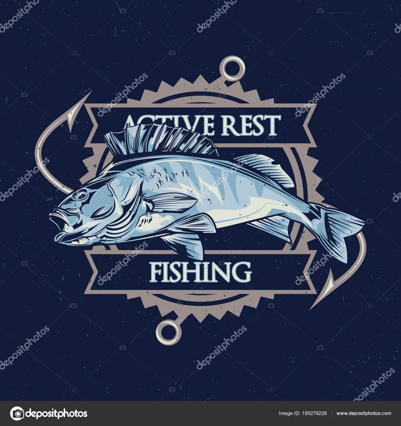 Disegno etichetta della maglietta tema nautico con illustrazione dei pesci  — Vettoriali di antonantipov 807abca2e9c1