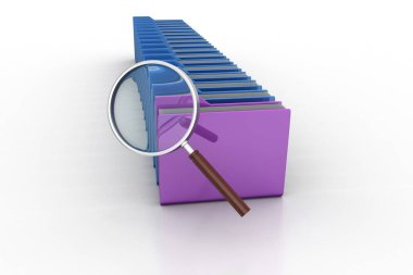 Magnifying glass with file folder