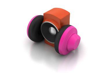 3d rendering of loudspeaker and headset