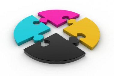 3d illustration Cmyk puzzles