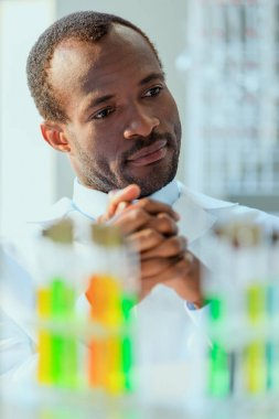 african american doctor at testing laboratory