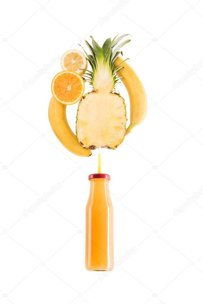 Yellow healthy smoothie fruits in glass bottle isolated on white, fresh fruit smoothie concept stock vector