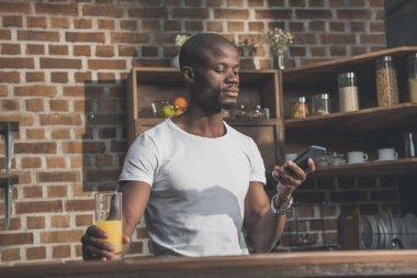 african american man using phone