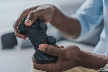 Man playing with joystick