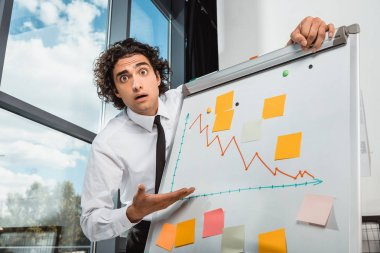 businessman pointing at white board