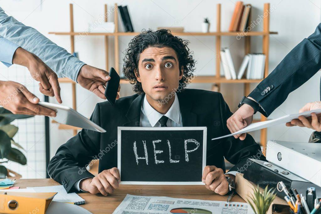 businessman having troubles with dealine