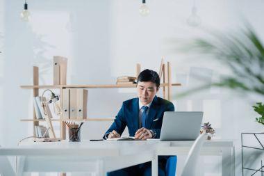 pensive young asian businessman