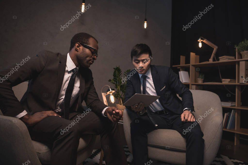 multiethic businessmen having conversation