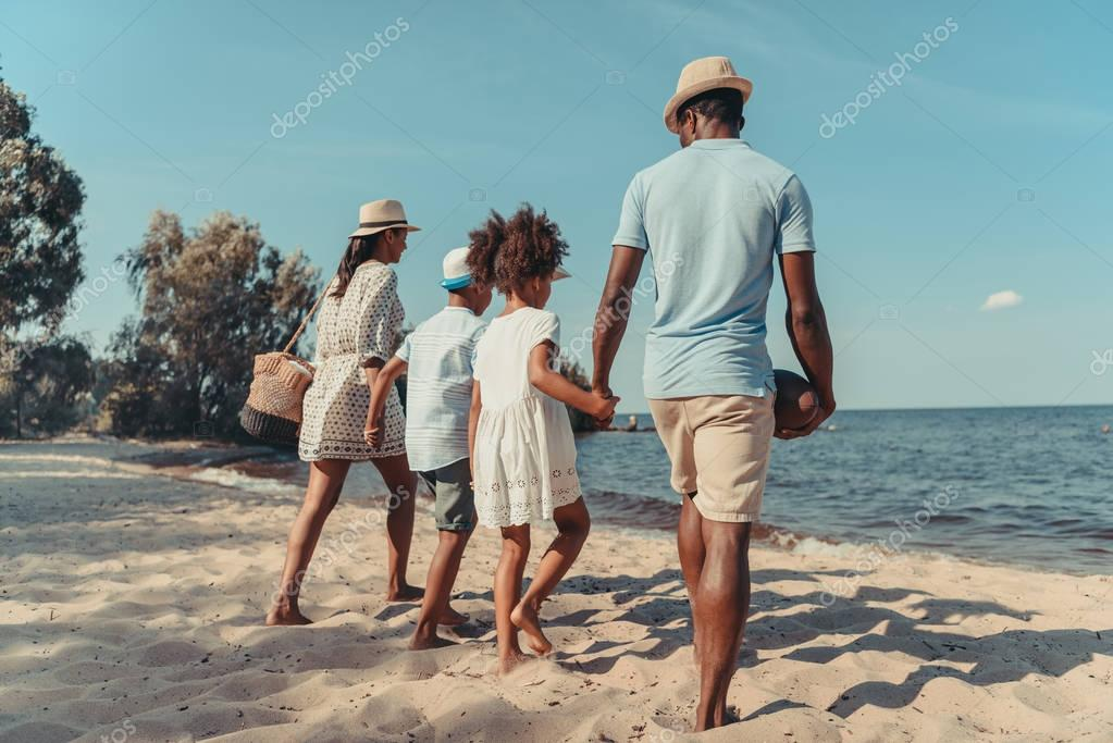 family at seaside