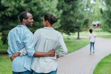 african american couple in park