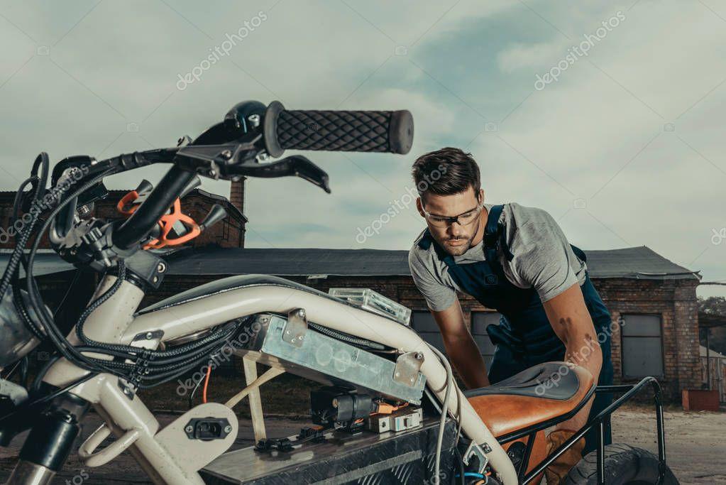 repairing vintage motorcycle