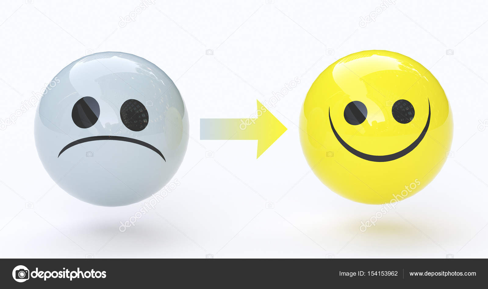 Üzgün Ve Mutlu Yüz, 3d Render