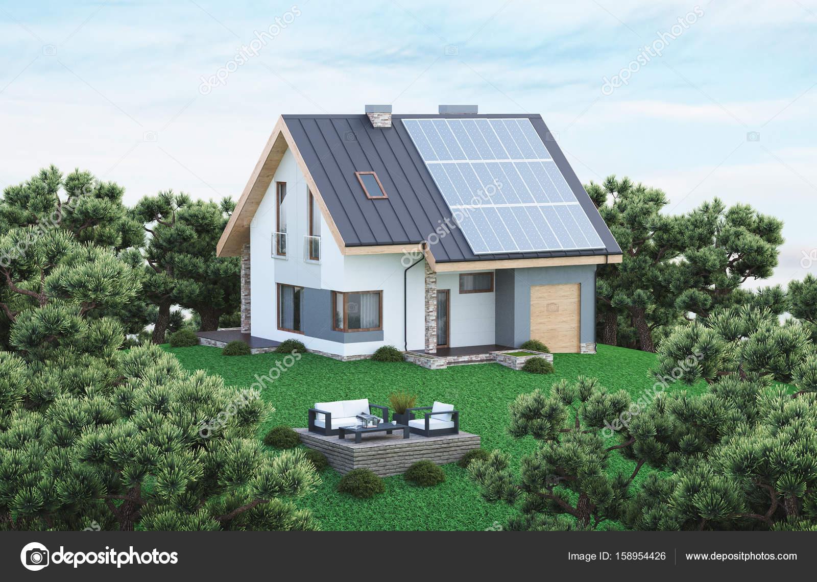 ökologisches Haus ökologisches haus mit sonnenkollektoren grünes haus rendern