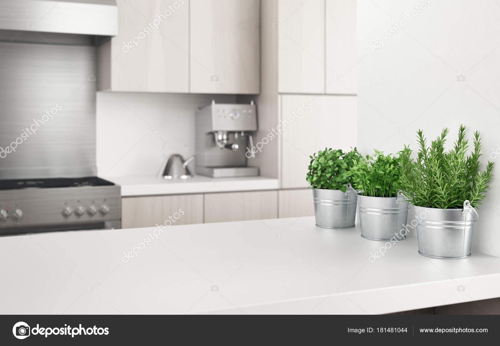 Cucina Moderna Con Piante Aromatiche Illustrazione Rendering — Foto ...