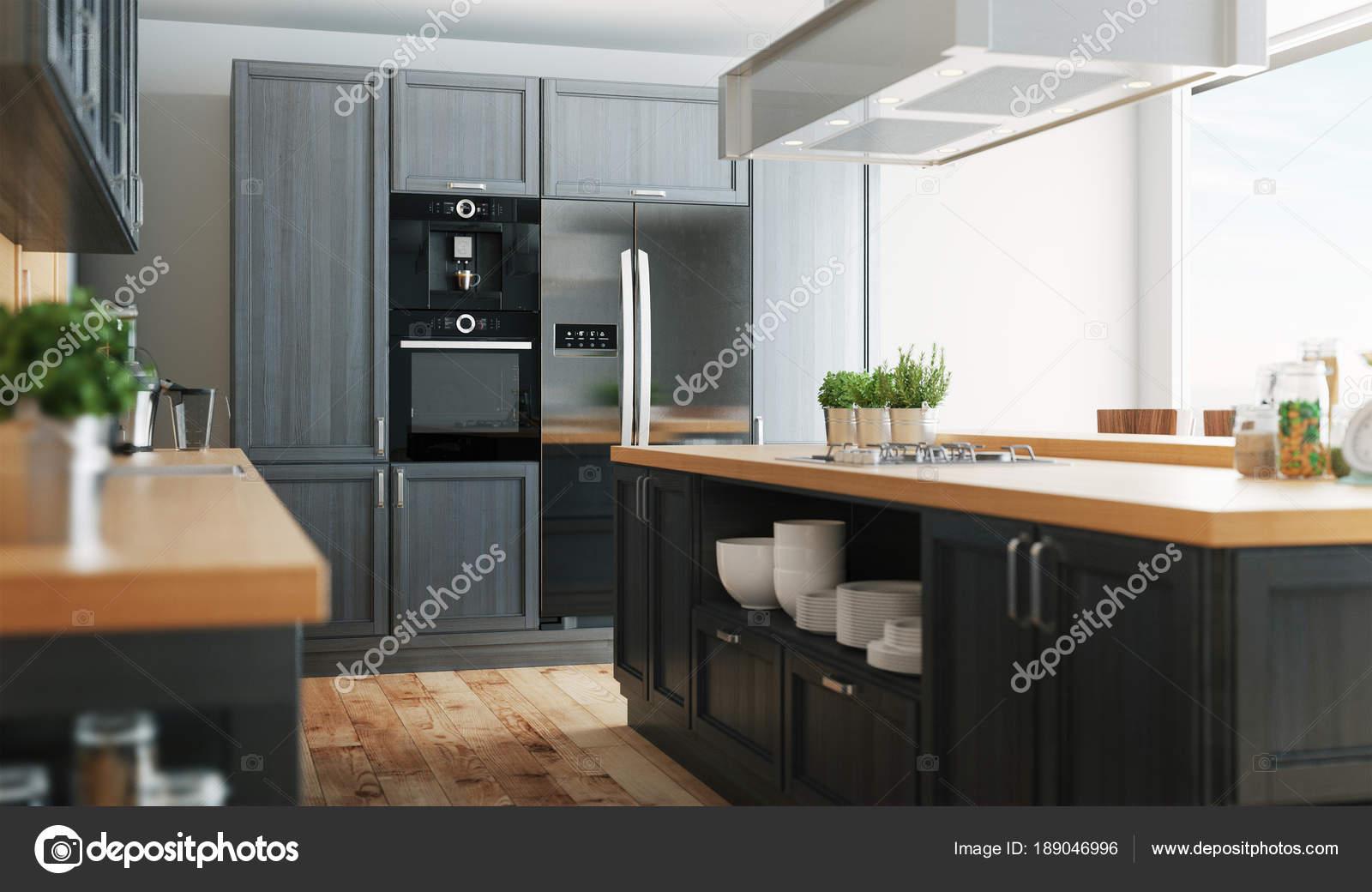 Cucina Moderna Con Parquet Mobili Grigio Rendering Illustrazione ...