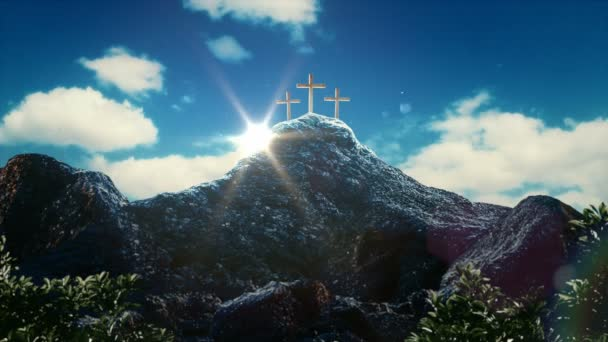 Golgotha hill outside ancient Jerusalem where Jesus Christ was crucified. Holy Cross with mystical clouds and rays of light. 3d rendering