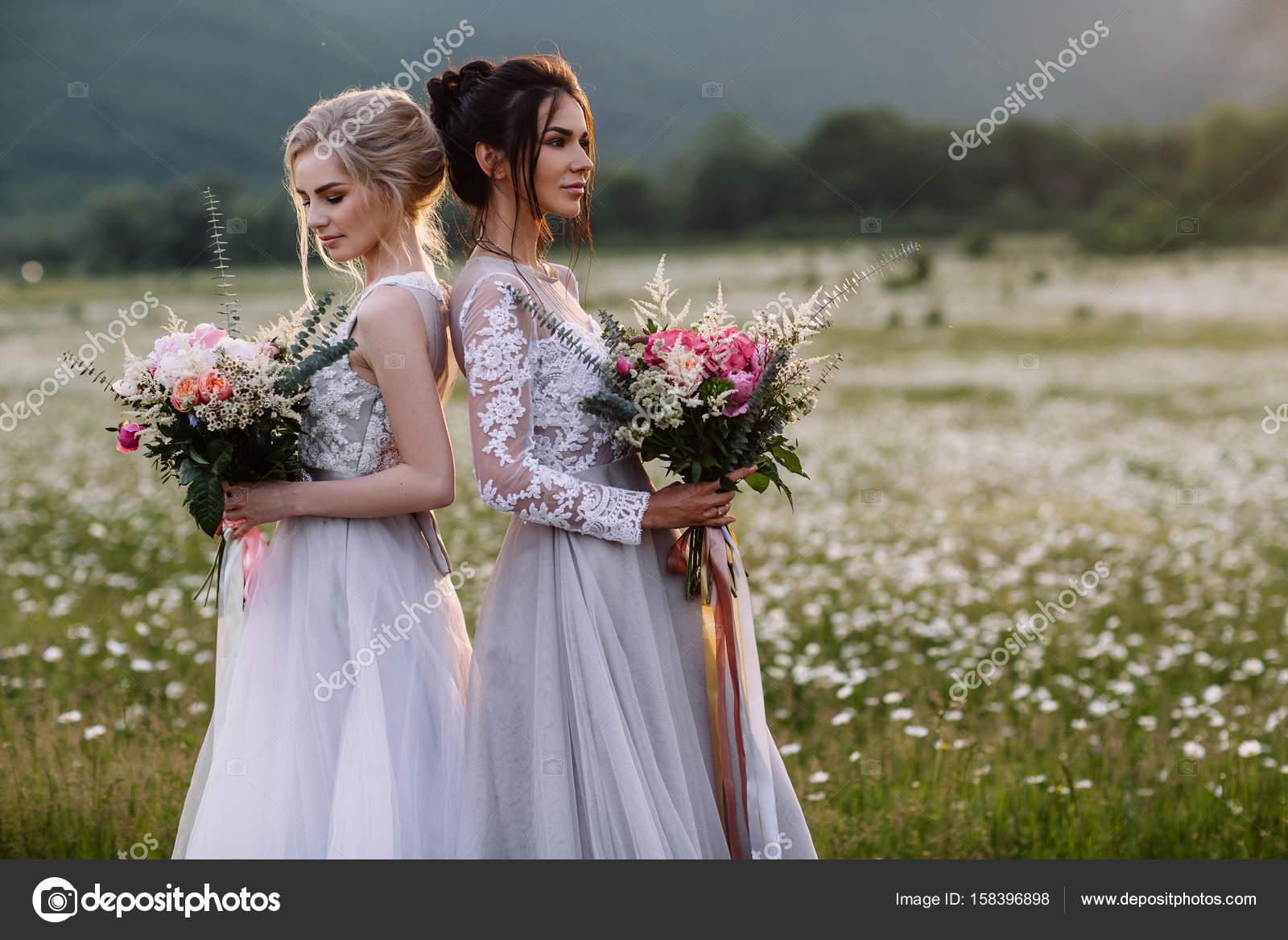 zwei schöne Mädchen Brünette und Blonde genießen Daisy Field, schöne ...