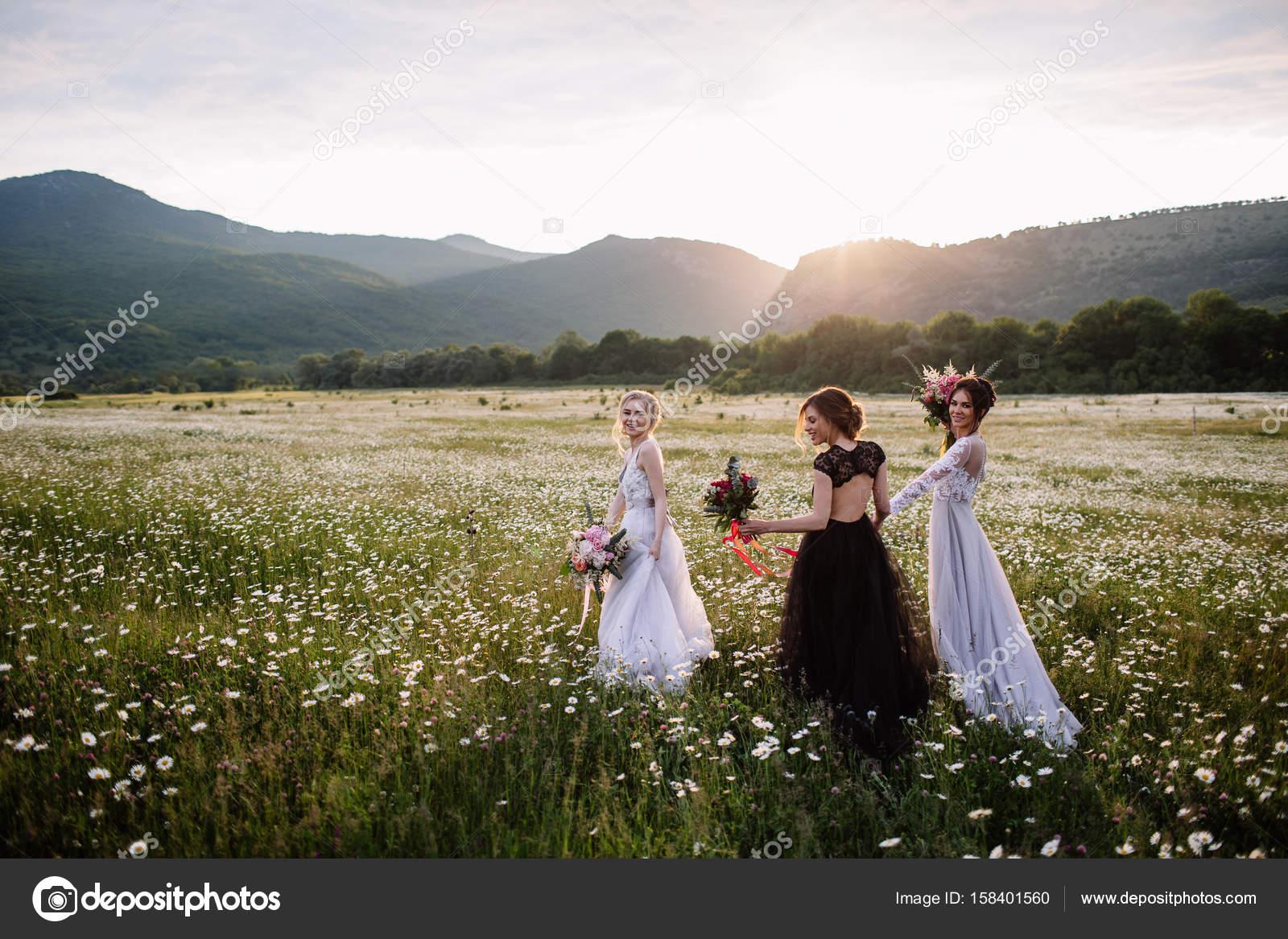 drei schöne Mädchen Brünette und Blonde, braunhaarige Frau genießen ...