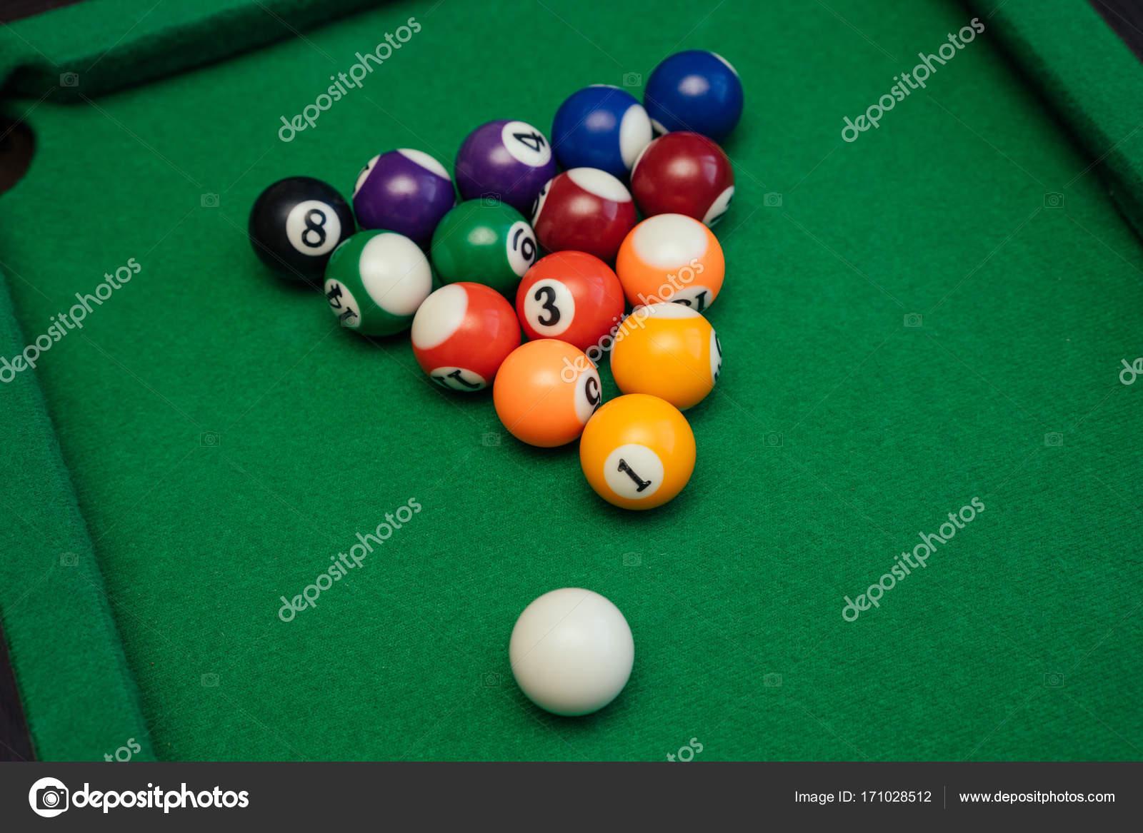 American Billiards Pool On A Green Table Stock Photo DEJAVU - Us billiards pool table