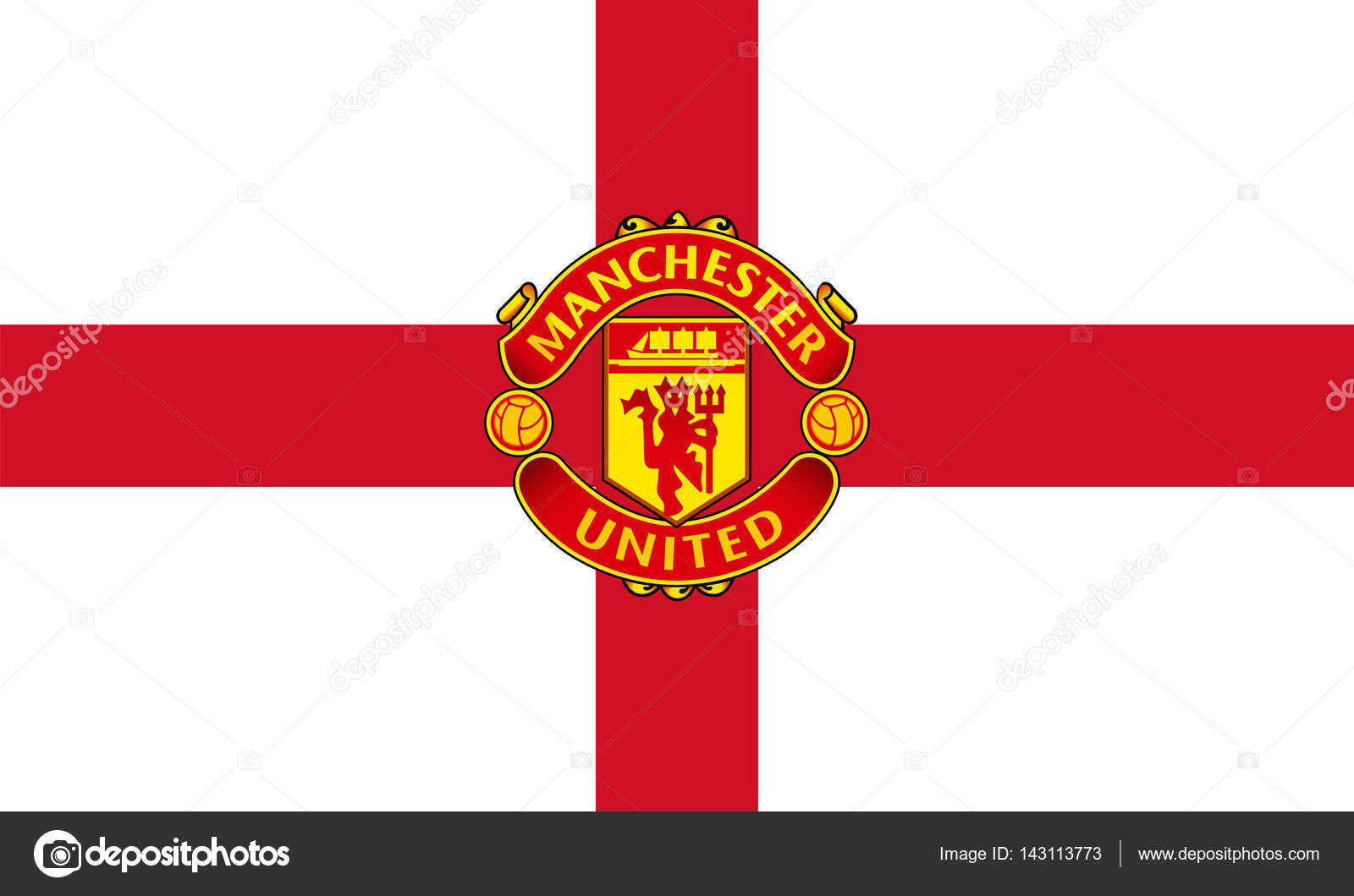 Vector illustration of manchester united stock editorial photo manchester england feb 22 2017 vector illustration of manchester united fc logo on english flag background photo by bodrumsurf voltagebd Image collections