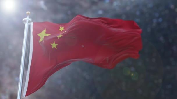 Amazing waving slow motion Chinese flag.