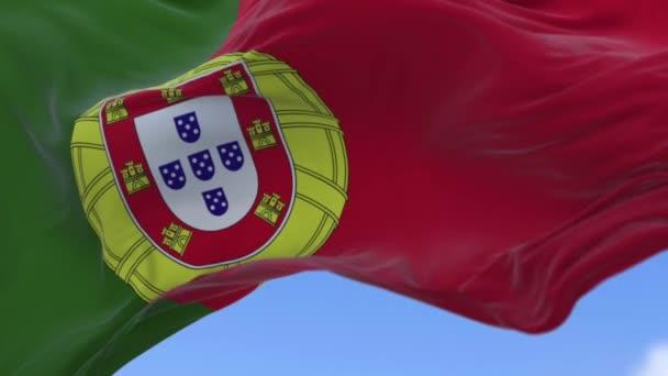 Portugál zászló a lassú mozgás