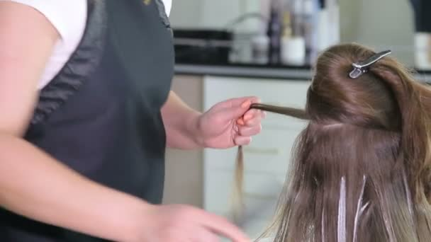 Professional hairdresser, stylist coloring teen girl hair