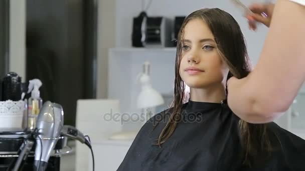 Hairdresser combing and cuting hair of teen girl client in hair salon
