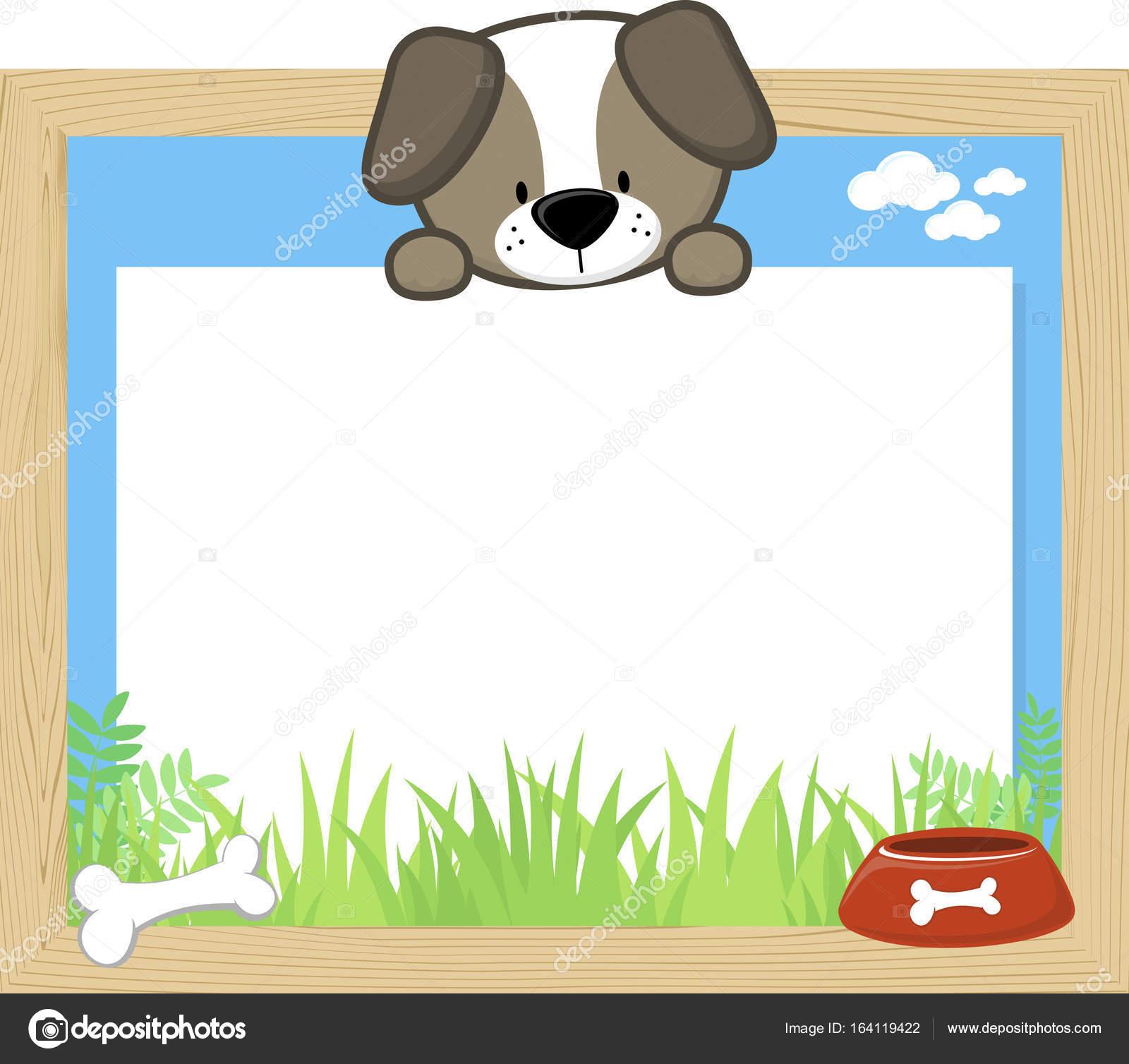 marco de madera con Lindo perrito — Archivo Imágenes Vectoriales ...