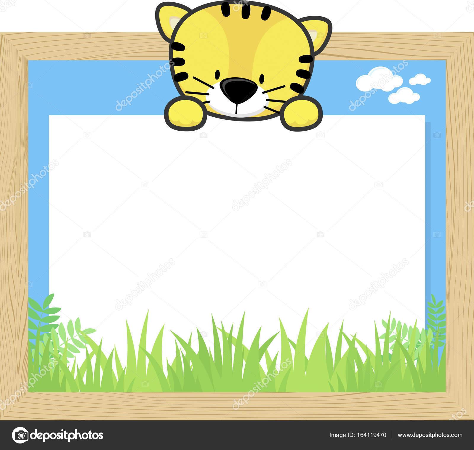 marco de madera con el tigre lindo bebé — Vector de stock © hayaship ...