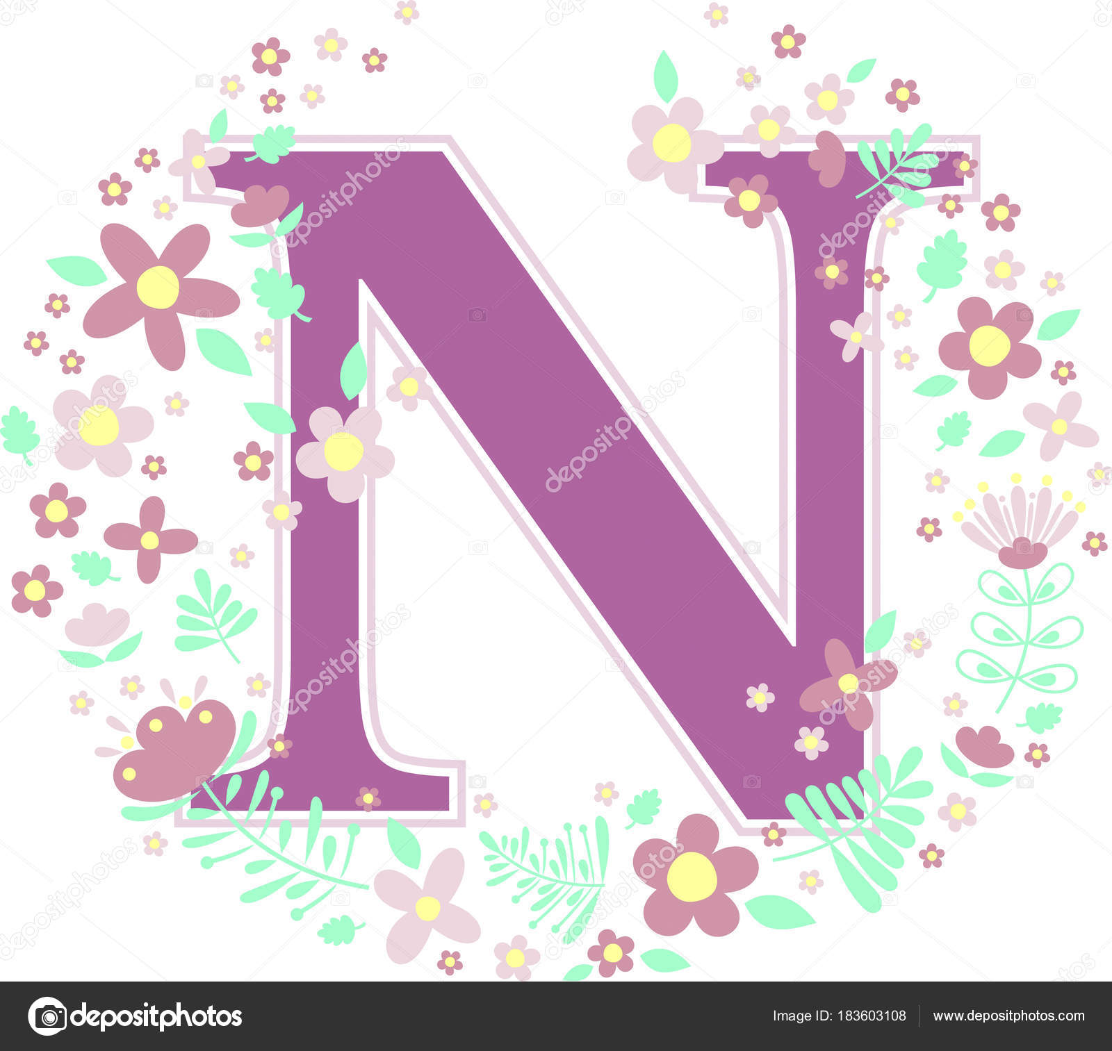 Initial letter decorative flowers design elements isolated white initial letter n with decorative flowers and design elements isolated on white background can be used for baby name nursery decoration spring themes or junglespirit Image collections