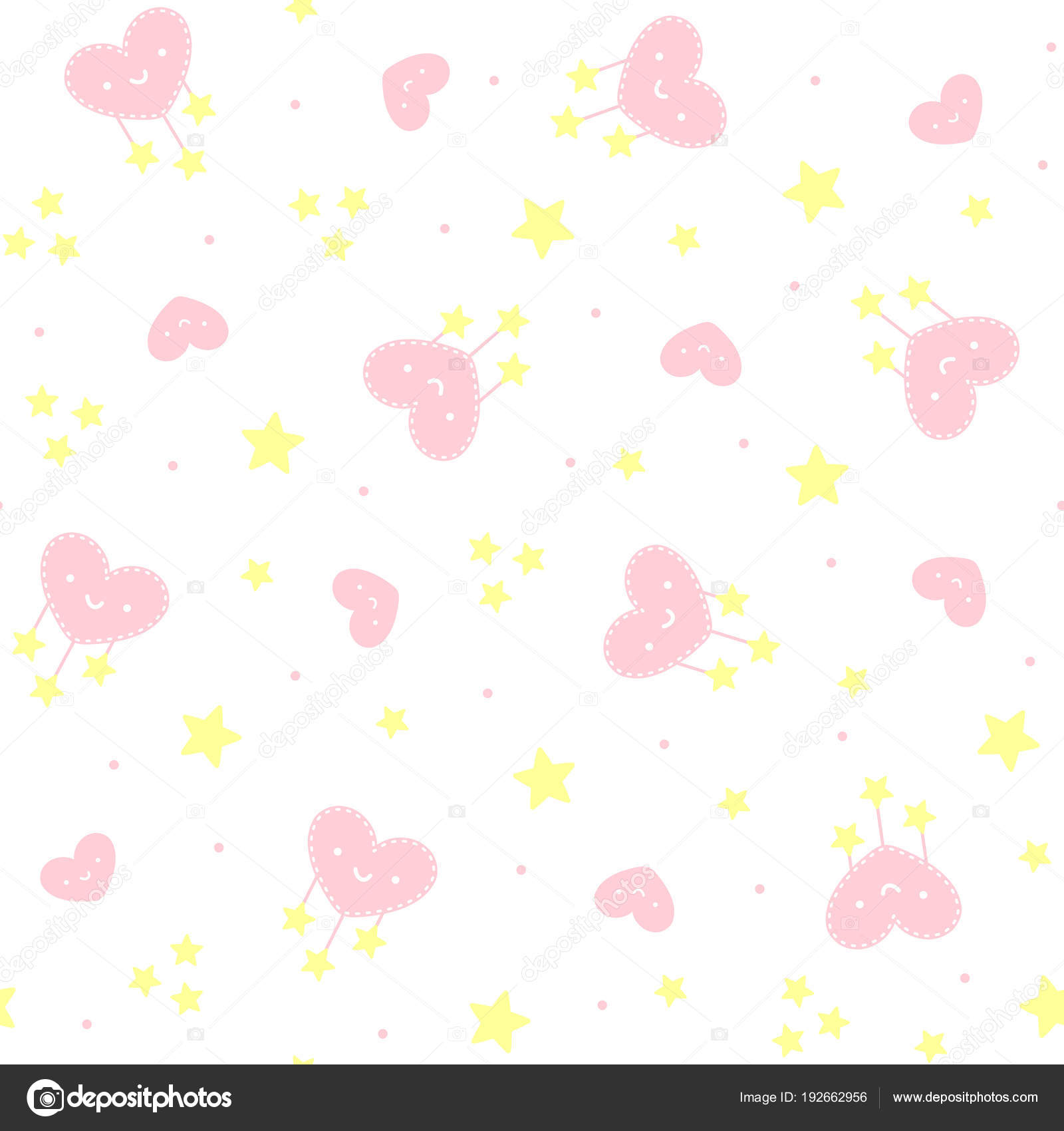 Cute Seamless Pattern Smiling Hearts Stars White Background Design