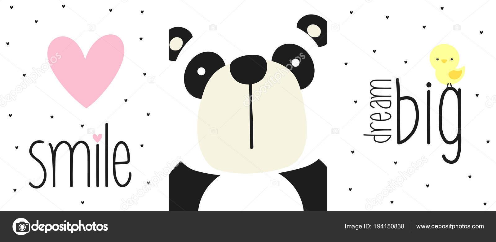 Simpatico Orso Panda Faccia Con Citazioni Elementi Design