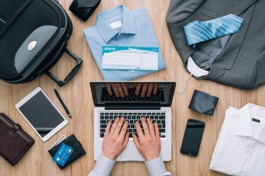 Businessman planning a business trip