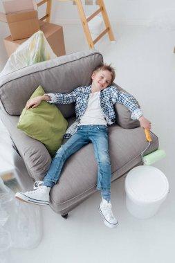 Lazy boy on armchair
