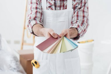 painter showing set of color swatches