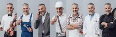 Man posing in different job uniforms