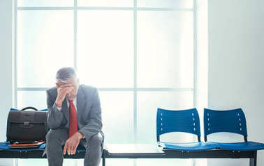 Depressed stressed businessman