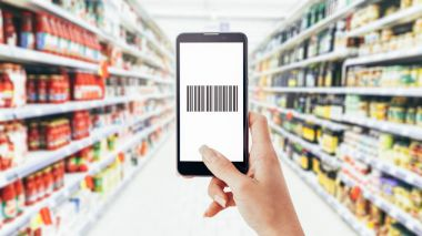 Woman scanning barcode
